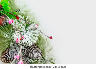 Christmas decoration background. Design festive fir branches and cones.