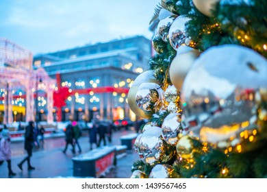 Christmas decoration background with golden lights glowing. Christmas street light. Traditional christmas market.