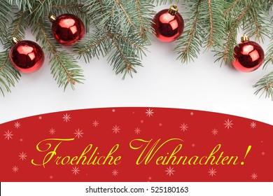 """Christmas decoration background with message """"Froehliche Weihnachten!"""" in German"""
