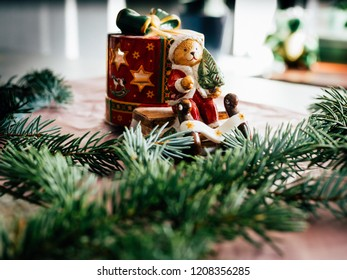 Christmas decoration background; Christmas tree and holidays lights and image of Santa Claus, free space, tpo view