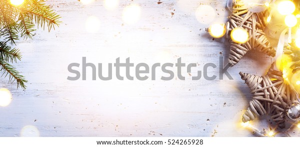 Christmas decoration background;  Christmas tree and holidays ornament