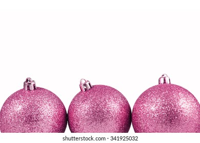 Christmas decoration ball on a white background with space for text. Christmas ball background. Greeting card