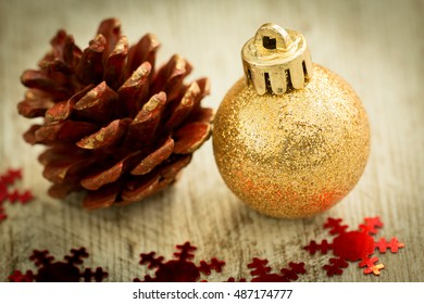 Christmas decoration. Christmas ball with ornaments