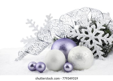 Christmas decoration with ball ornaments  on snow