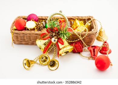 christmas decoration in the basket on the white background
