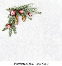 Christmas decoration. Branch christmas tree, christmas balls and cones spruce on snow. Top view, flat lay