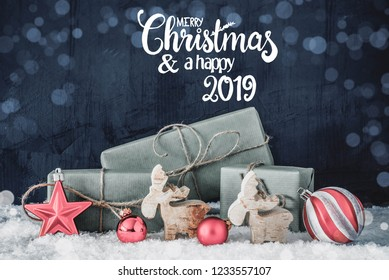 Christmas Decoration, Calligraphy Merry Christmas And A Happy New 2019