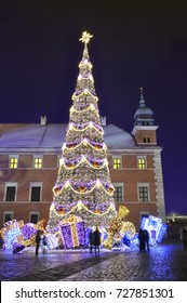 Christmas decoration at the Castle square in Warsaws Old Town - Poland.