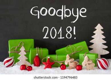 Christmas Decoration, Cement, Snow, English Text Goodbye 2018