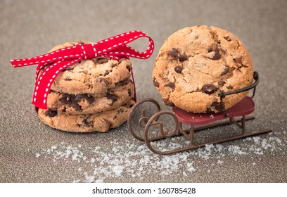 Christmas decoration with chocolate chip cookie