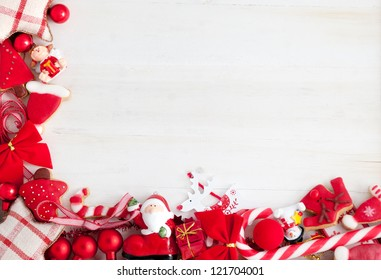 Christmas Decoration And Cookies Border