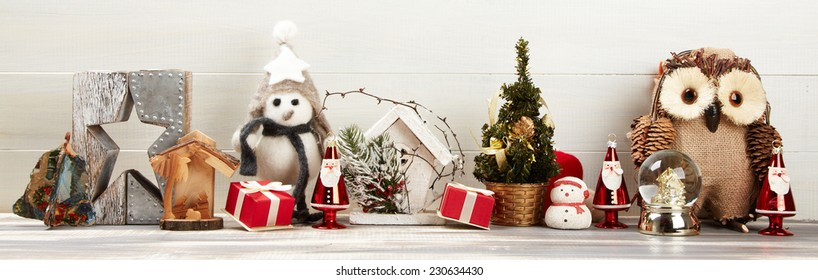 Christmas decoration. Christmas decor on the wooden background
