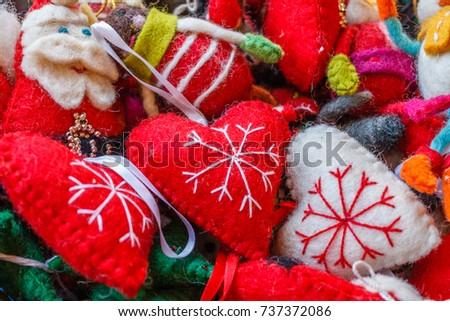 Christmas Decoration Felt Handicrafts Street Stalls Stock Photo
