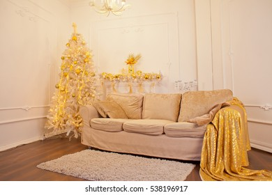 Christmas decoration of fireplace in living room