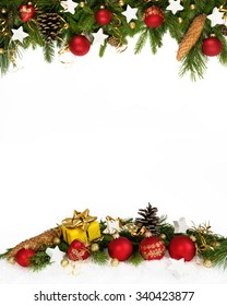 Christmas decoration  four-fifths with balls, stars, cones and gift on white background..