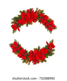Christmas decoration. Frame of flower of red poinsettia, branch christmas tree, christmas ball, red berry and cone spruce on a white background with space for text. Top view, flat lay.