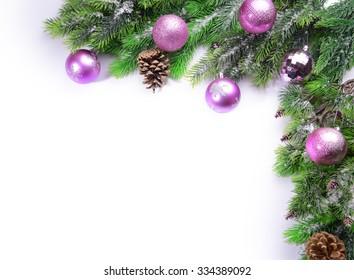Christmas decoration frame isolated on white
