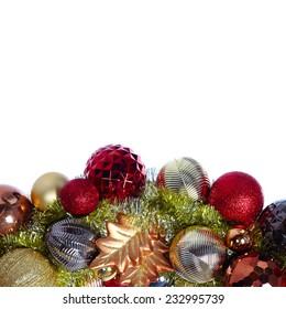 Christmas decoration garland isolated white background. Xmas decoration wreath