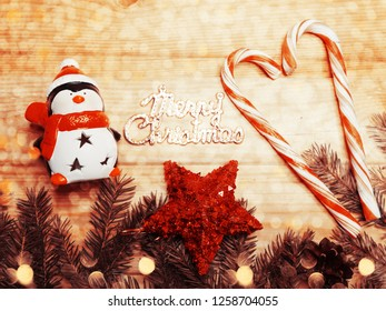 christmas decoration with garland lights snowflakes on fir branches background
