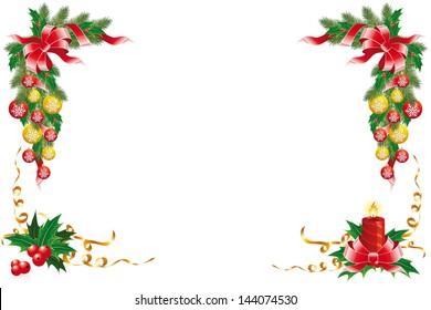Christmas decoration with garland mistletoe fir-tree and balls