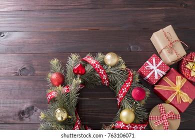 Christmas decoration gift box     in winter season.