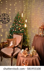 Christmas decoration and gift boxes on dark background