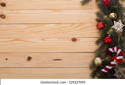 Christmas decoration gift on wood board.