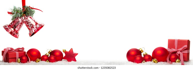 Christmas decoration with gifts, balls and bells, banner, isolated on white