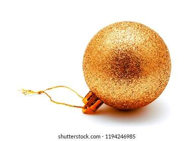 Christmas decoration golden gold yellow ball  isolated on a white background