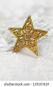 Christmas decoration golden star, background for holidays card and cover