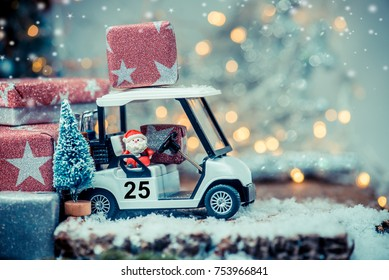 Christmas decoration with golf car on December