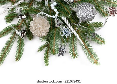 Christmas Decoration. Holiday Decorations Isolated on White Background. Selective focus.