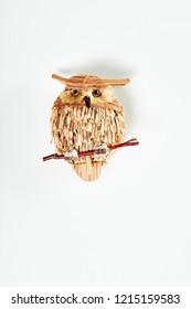 Christmas decoration isolated on white background. Handmade owl .