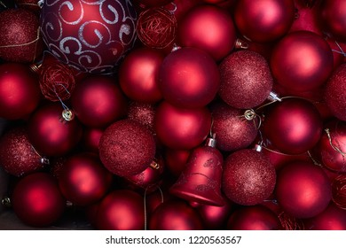 Christmas decoration isolated on white background. Red christmas balls. Real photo objects not a render or illustration.