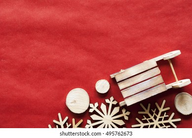 Christmas Decoration Like Sled On Wrapping Paper, Copy Space