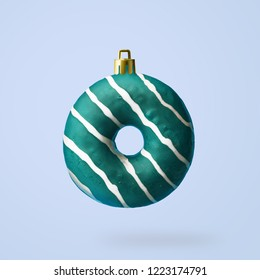 Christmas decoration made from an appetizing donut. Creative concept.