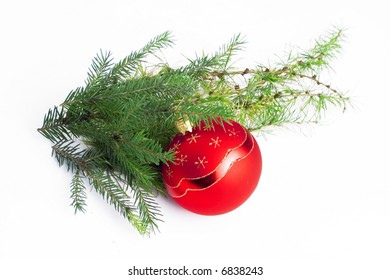 Christmas decoration made of red ball and pine needles