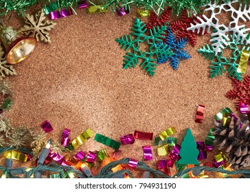 Christmas decoration and New Year 2018 concept background. View from above. Copy space