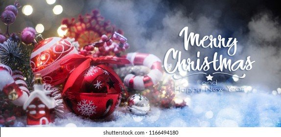 Christmas decoration, Christmas and New Year holidays background, winter season.