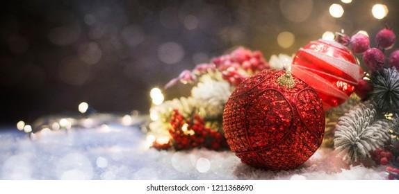 Christmas decoration, Christmas and New Year holidays background, winter season.