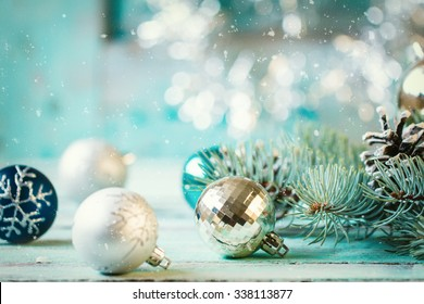 Christmas decoration on abstract background,vintage filter,soft focus - Shutterstock ID 338113877