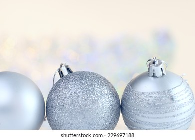 Christmas decoration on abstract glowing bokeh background