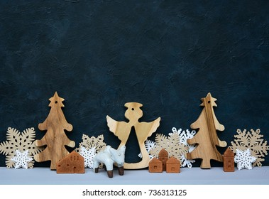 Christmas decoration on the blue background.  New year greeting card template. Holiday mock up. Scandinavian style.