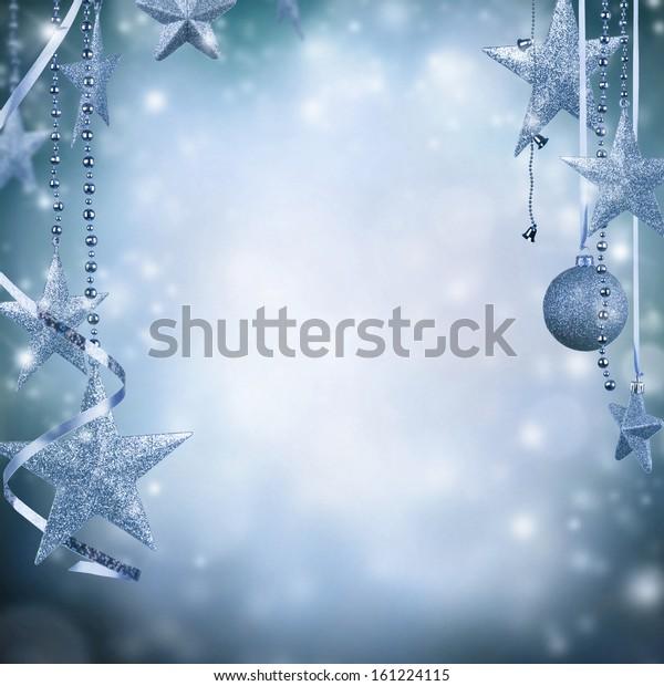 Christmas decoration on blur blue background