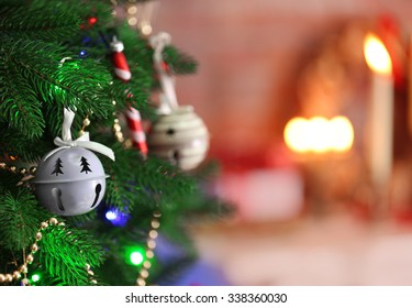 Christmas decoration on bright color background