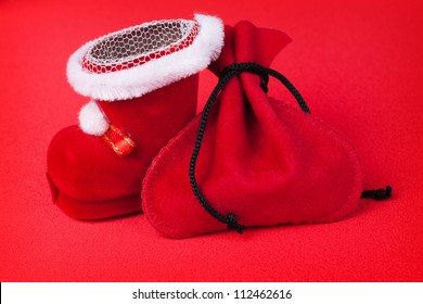 Christmas decoration on bright red background
