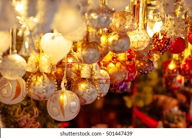 Christmas decoration on an european market. Holiday shopping