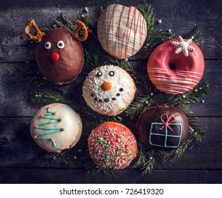 Christmas decoration on homemade donuts