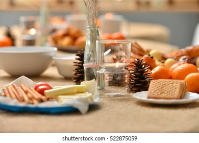 Christmas decoration on the snack table