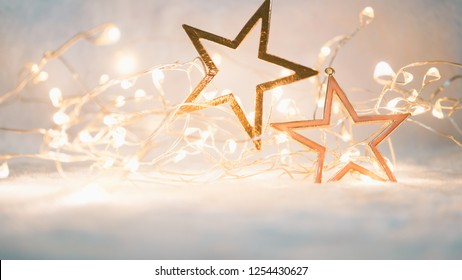Christmas decoration on soft and blurry light background for new year and Christmas concept